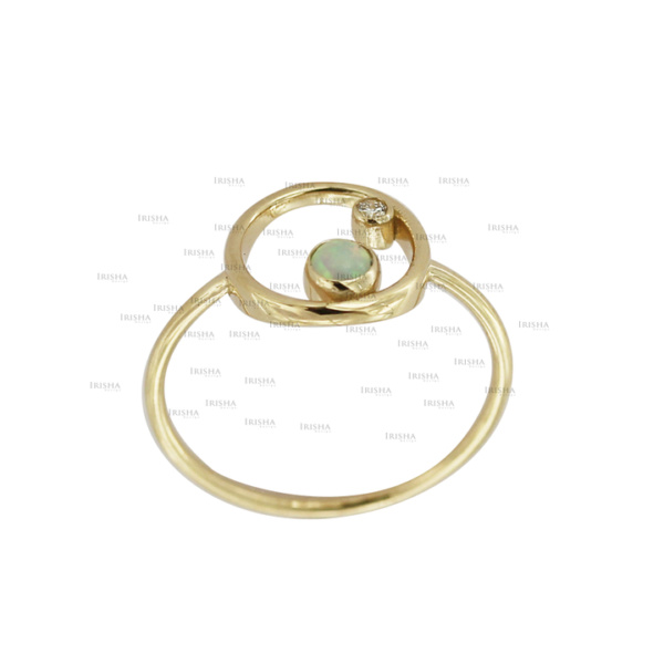 14K Gold Genuine Diamond And Opal Gemstone Open Circle Ring Fine Jewelry