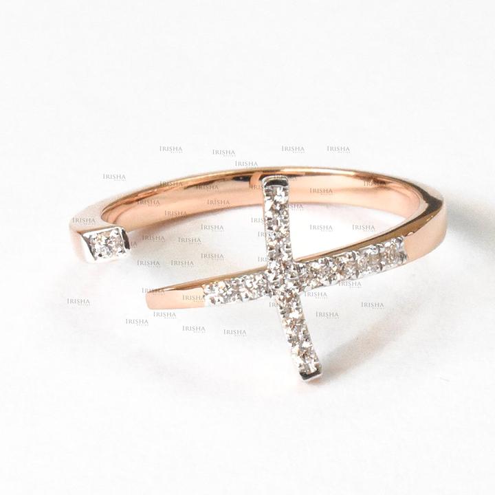 14K Gold 0.09 Ct. Genuine Diamond Jesus Cross Design Open Cuff Ring Fine Jewelry