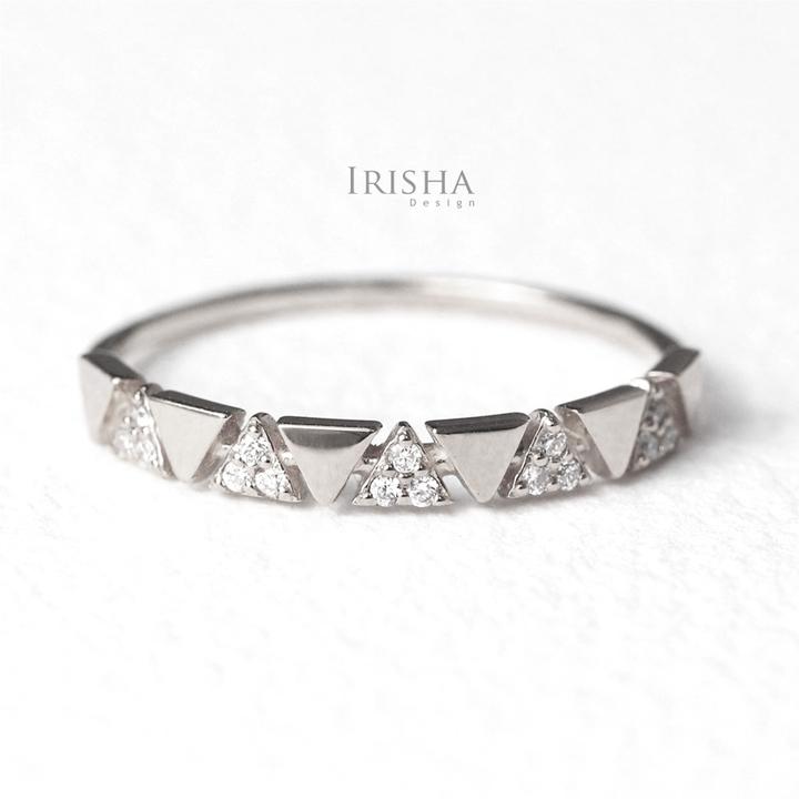 14K Gold 0.09 Ct. Genuine Diamond Multi Triangle Design Ring Fine Jewelry