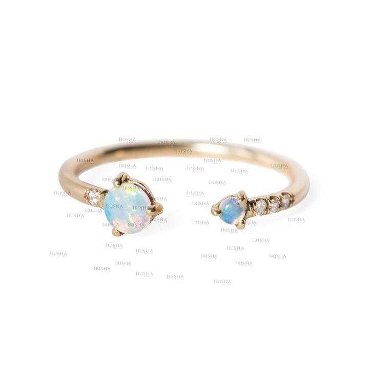 14K Gold Genuine Diamond And Opal Gemstone Open Cuff Birthday Ring Fine Jewelry