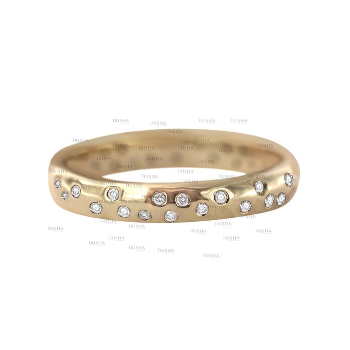 14K Gold 0.18 Ct. Genuine Diamond  3 mm Wide Wedding Band Ring Fine Jewelry