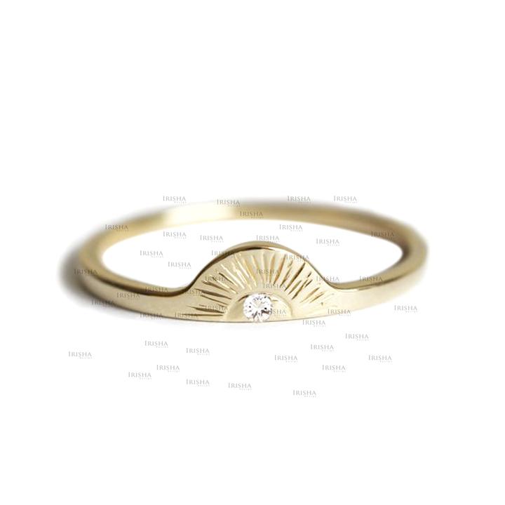 14K Gold 0.02 Ct. Genuine Diamond Half Moon  Sunrise Ring Fine Jewelry