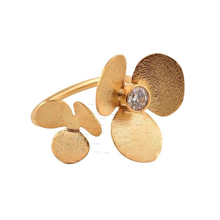 14K Gold 0.10 Ct. Genuine Diamond Twin Clover Floral Open Cuff Ring Fine Jewelry