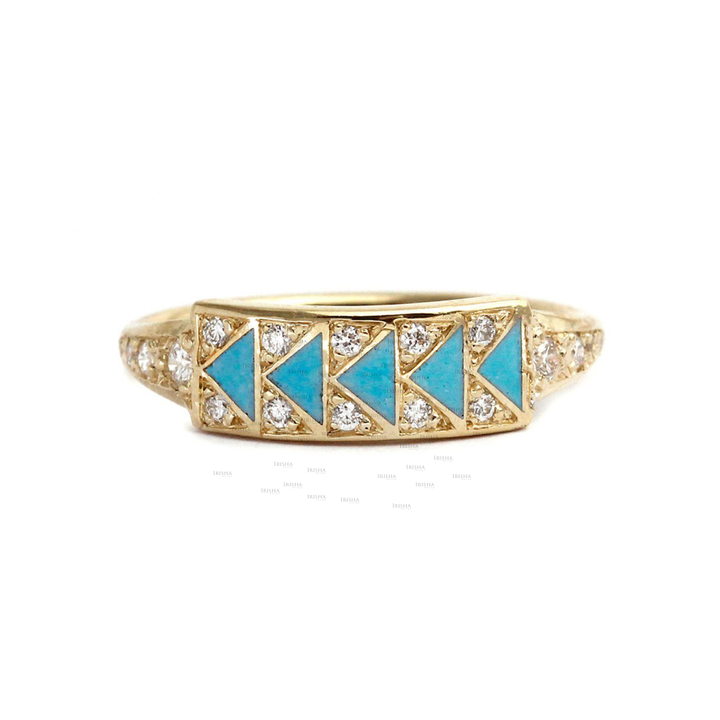 14K Gold Genuine Diamond And Turquoise Gemstone Ring Fine Jewelry Gift For Her