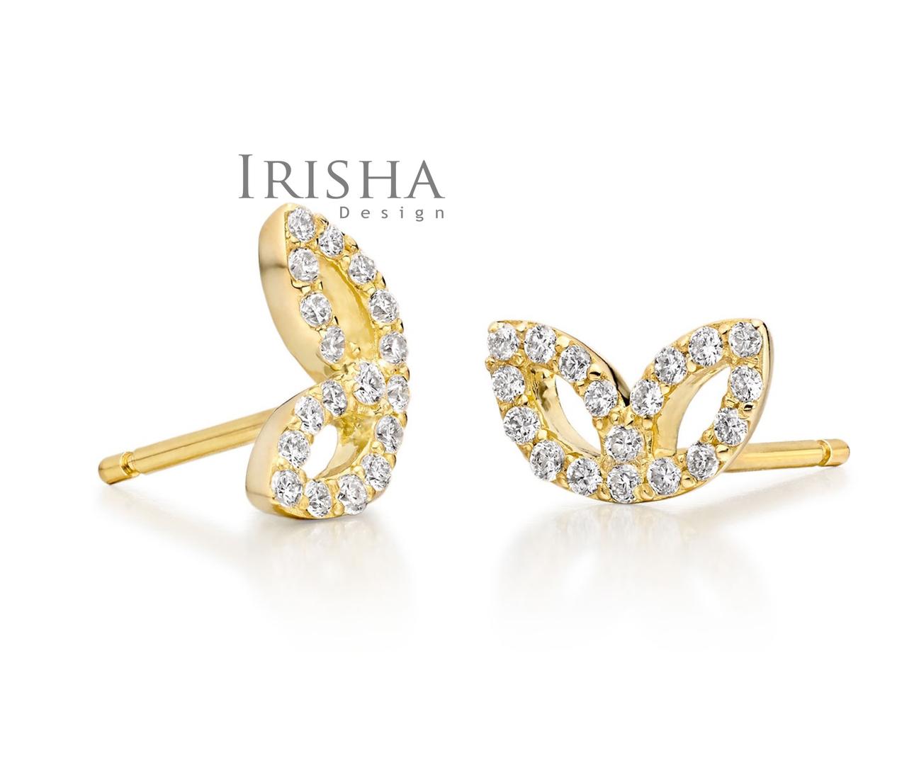14K Gold 0.24 Ct. Genuine Diamond Beautiful Floral Studs Earrings Fine Jewelry