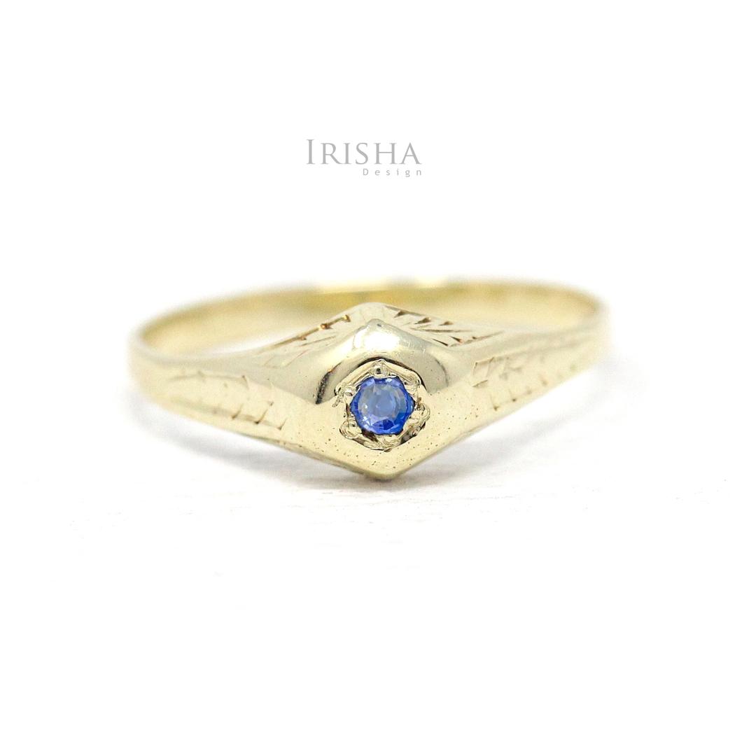 14K Gold 0.04 Ct. Genuine Blue Sapphire September Birthstone Vintage Fine Ring
