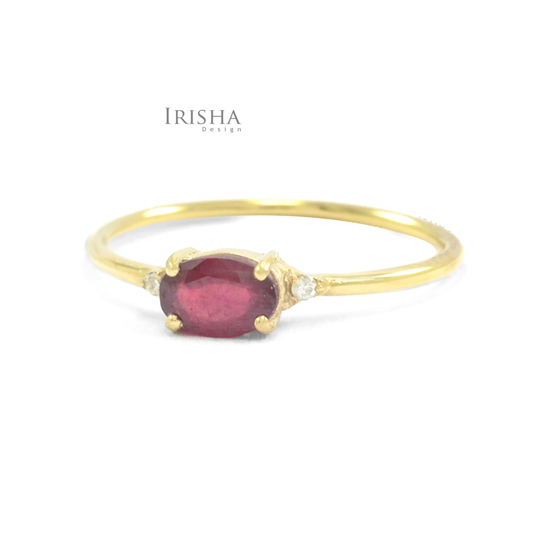 14K Gold Genuine Diamond And Oval Cut Ruby July Birthstone Wedding Band Ring
