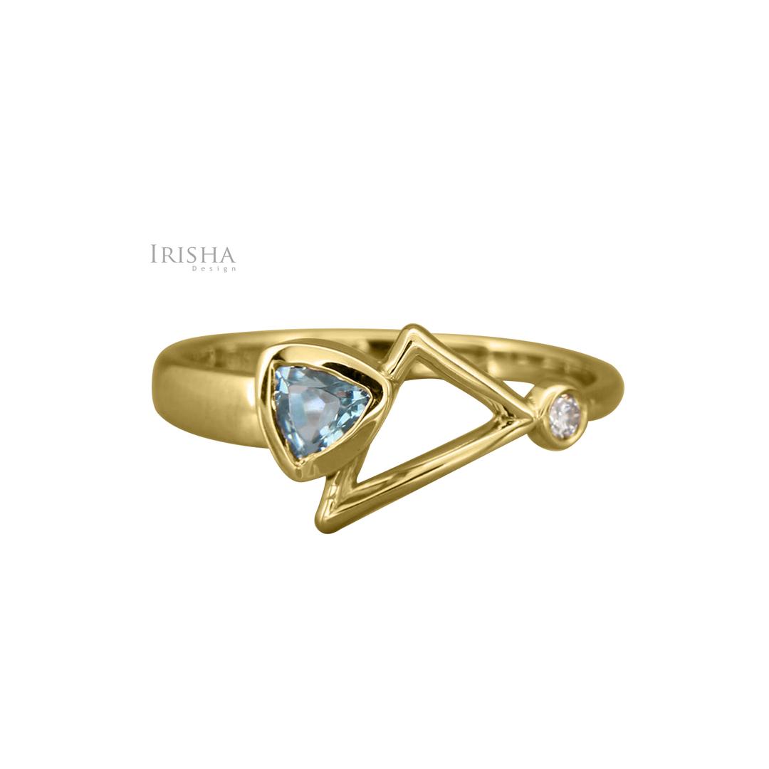 14K Gold Genuine Diamond Trillion March Birthstone Aquamarine Ring Fine Jewelry