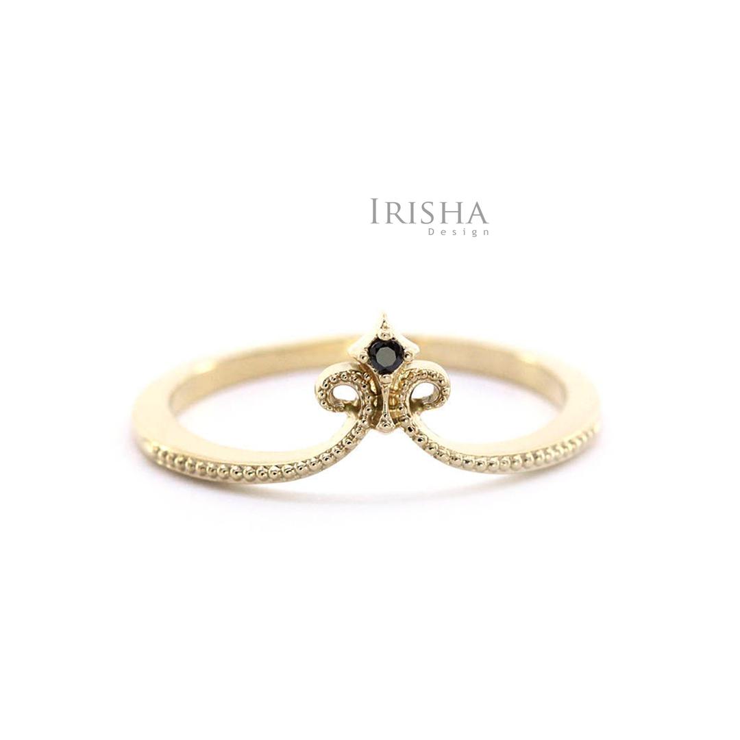 14K Gold 0.02 Ct. Genuine Black Diamond Crown Design Birthday Gift Ring For Her