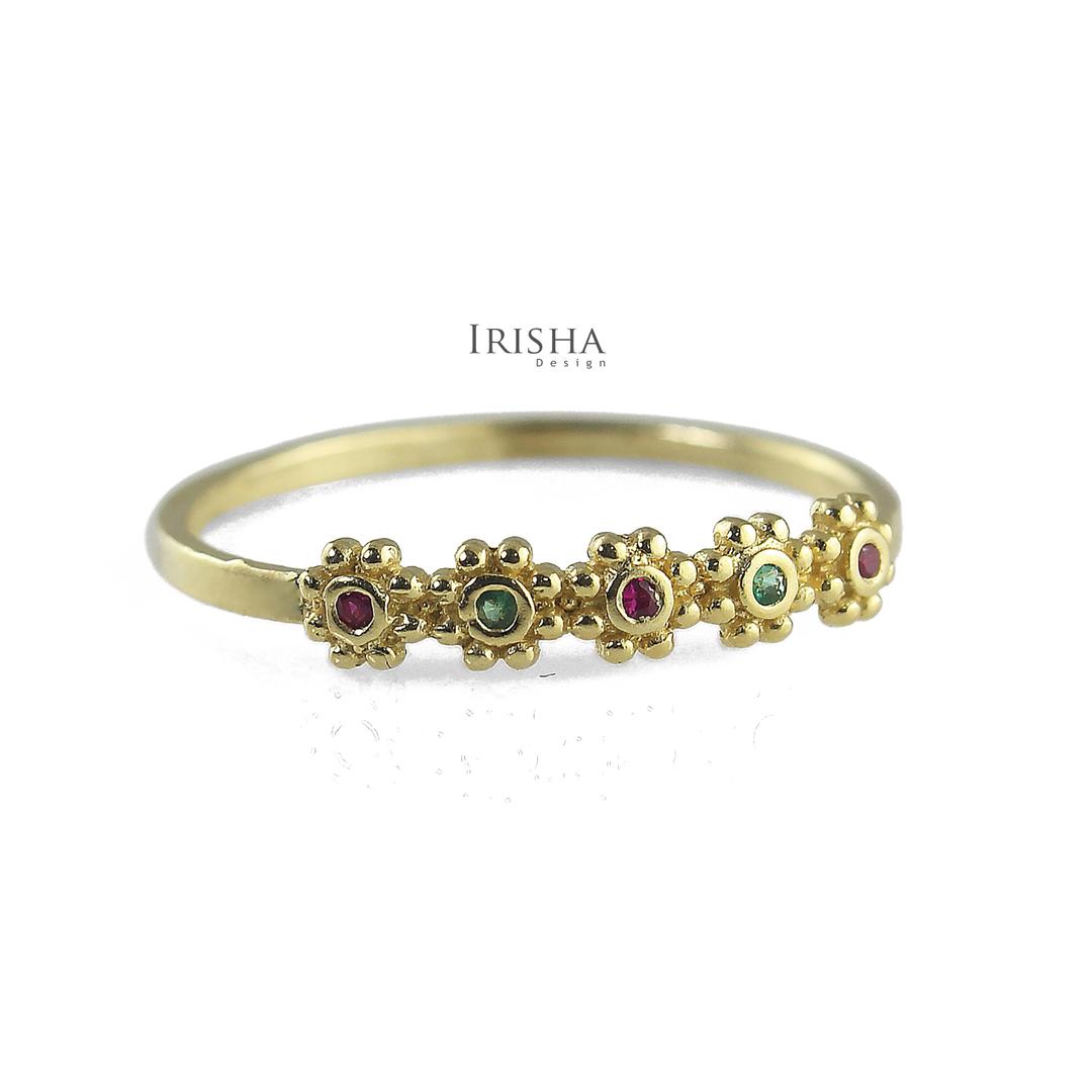14K Gold Genuine Ruby And Emerald Gemstone Five Flower Design Ring Fine Jewelry