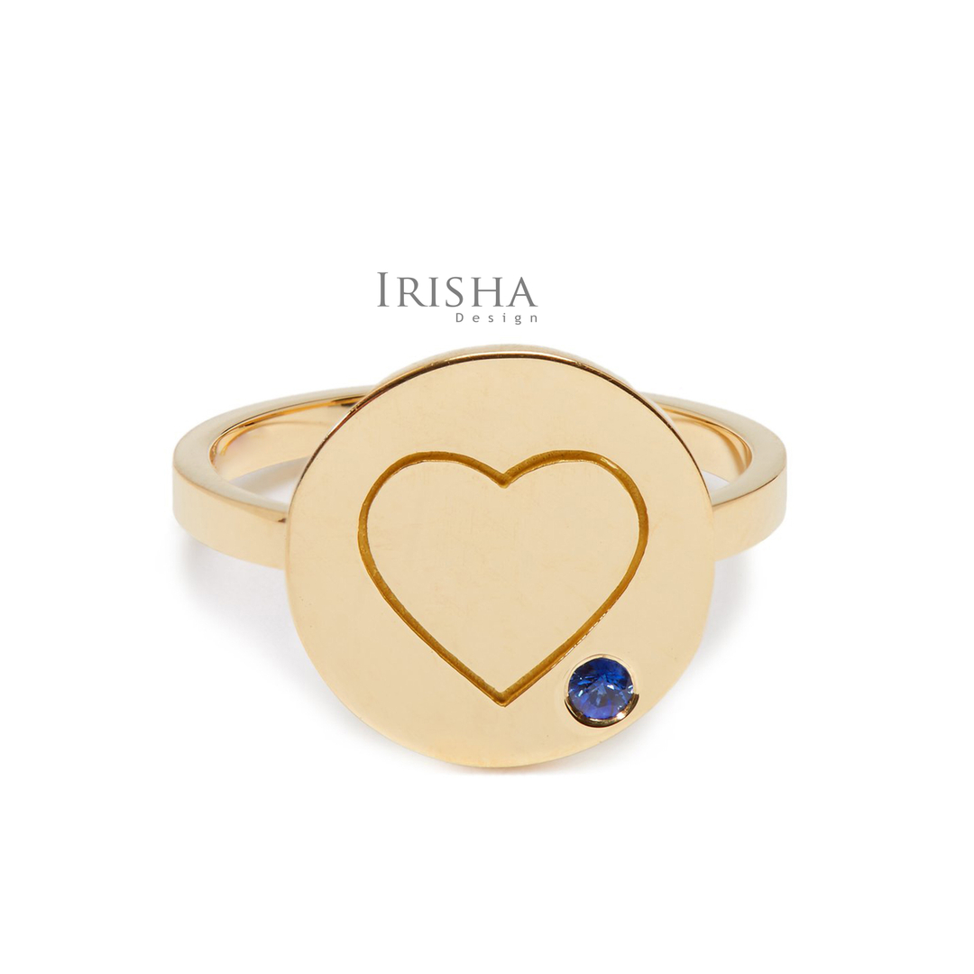 14K Gold 0.02 Ct. Genuine Blue Sapphire Engraved Heart Disc Ring Fine Jewelry