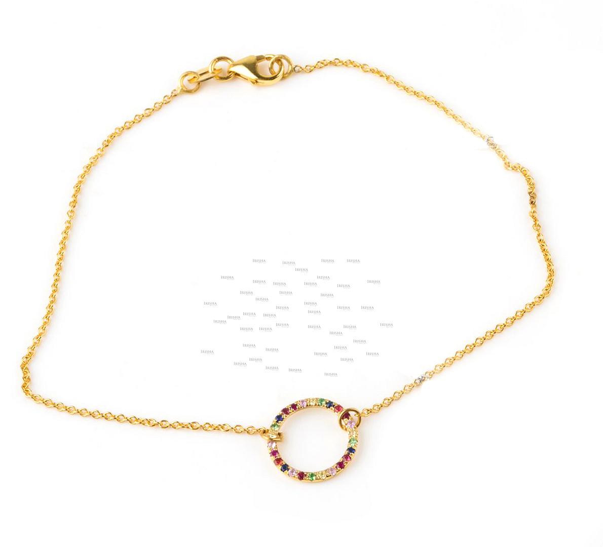 14K Gold 0.36 Ct. Multi Sapphire Gemstone Rainbow Open Circle Chain Bracelet