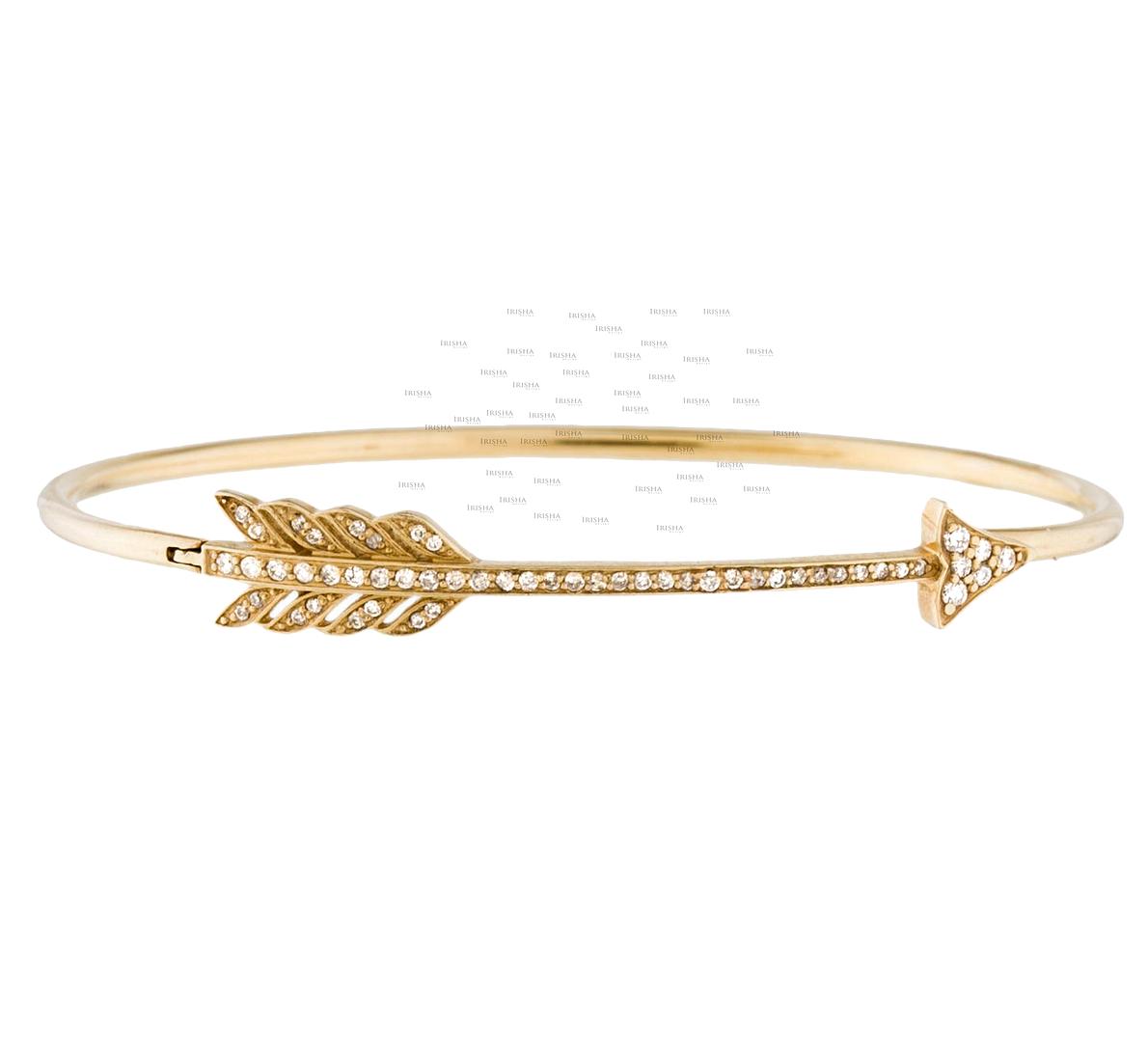 14K Gold 0.31 Ct. Genuine Diamond Arrowhead Bangle Bracelet Fine Jewelry