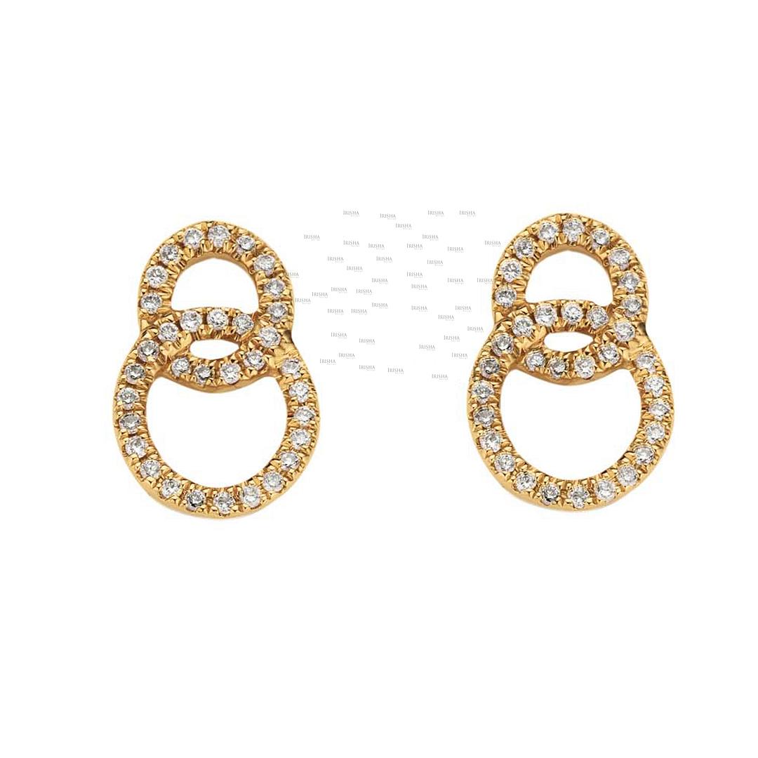 14K Gold 0.34 Ct. Genuine Diamond Knot Earrings Wedding Fine Jewelry