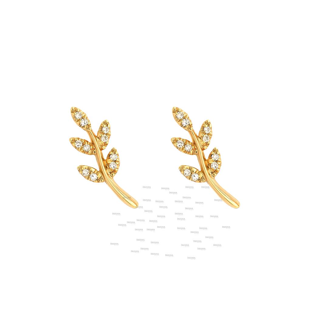 14K Gold 0.10 Ct. Genuine Diamond Leaf Earrings Handmade Fine Jewelry