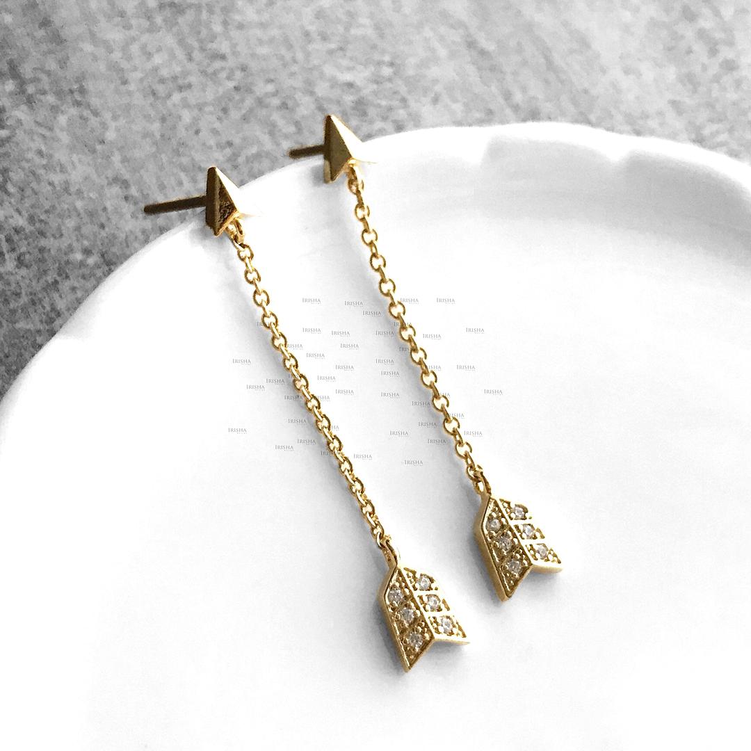 14K Gold 0.07 Ct. Genuine Diamond 1.50 inch Arrow Chain Earrings Fine Jewelry