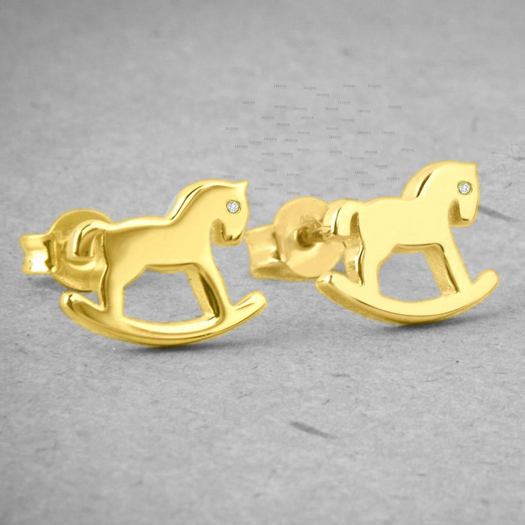 14K Gold 0.01 Ct. Genuine Diamond Tiny Rocking Horse Studs Earrings Fine Jewelry