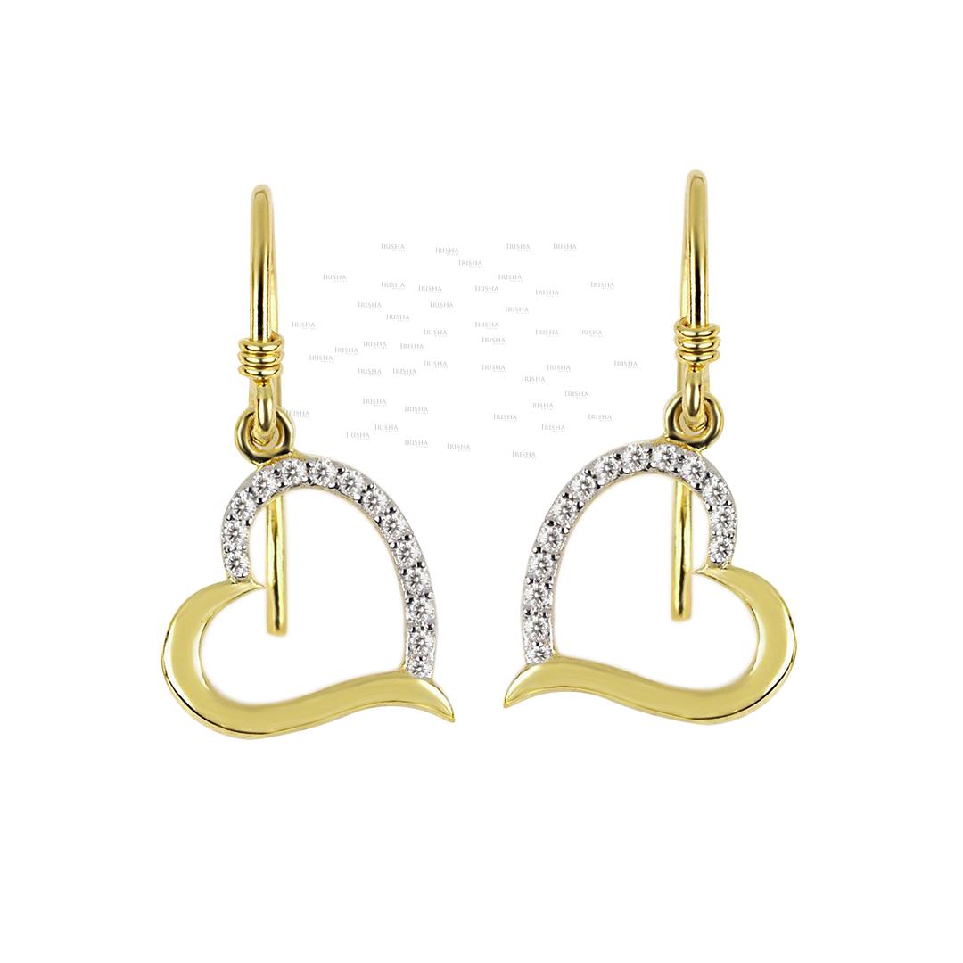 14K Gold 0.14 Ct. Genuine Diamond Love & Hearts Hook Earrings Fine Jewelry