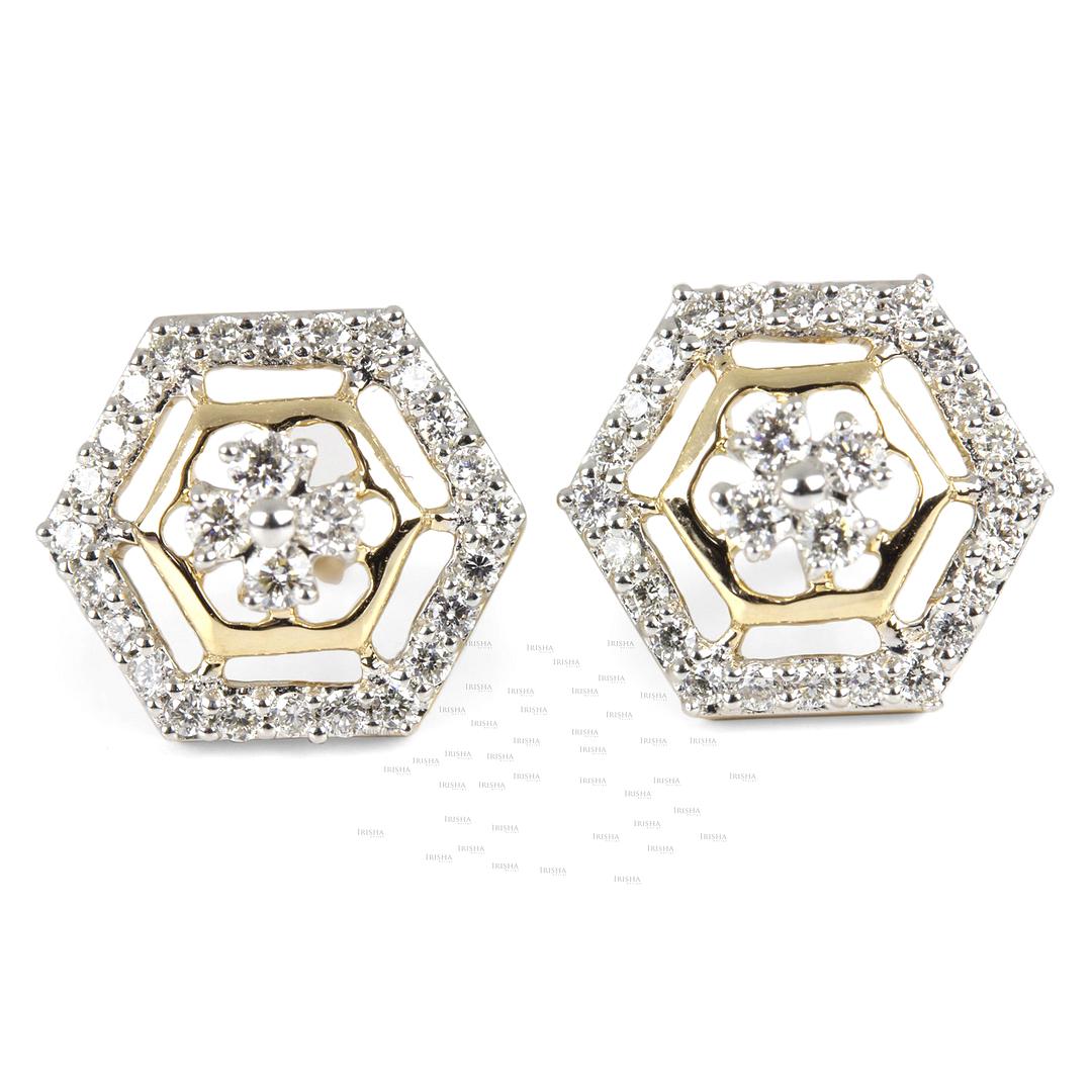 14K Gold 0.30 Ct. Genuine Diamond Honeycomb Studs Earrings Fine Jewelry