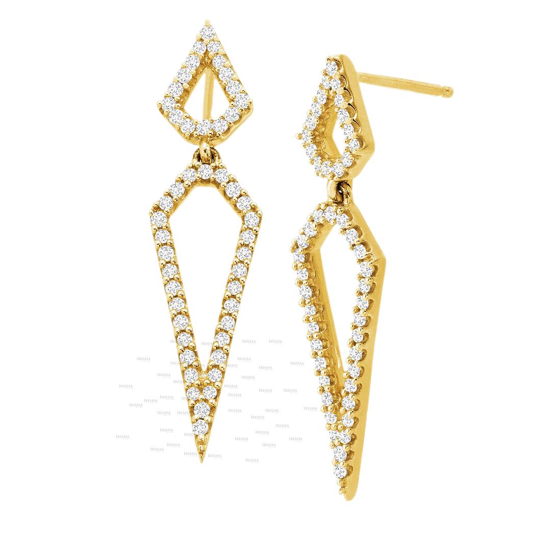 14K Gold 0.48 Ct. Genuine Diamond 32 mm Long Geometrical Earrings Fine Jewelry
