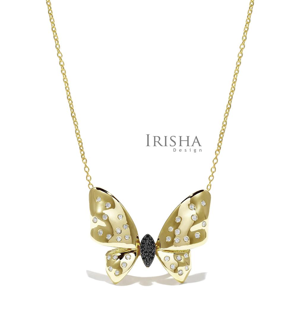 14K Gold 0.30 Ct. Genuine White-Black Diamond Butterfly Pendant Necklace Jewelry