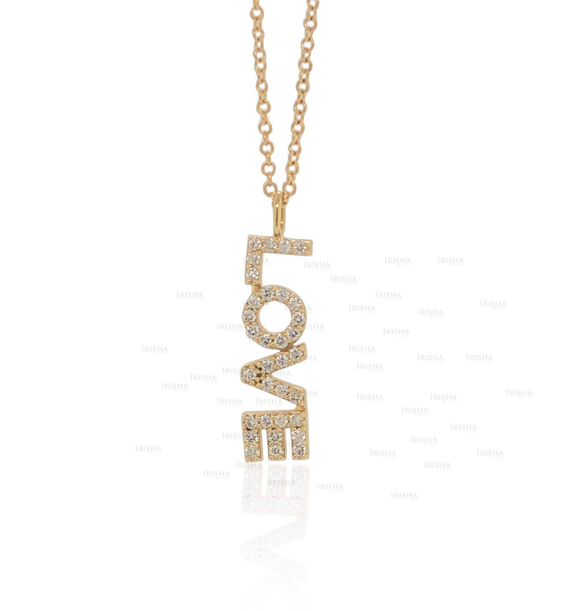 Love Necklace Gift 0.15 Ct. Genuine Diamond 18K Gold