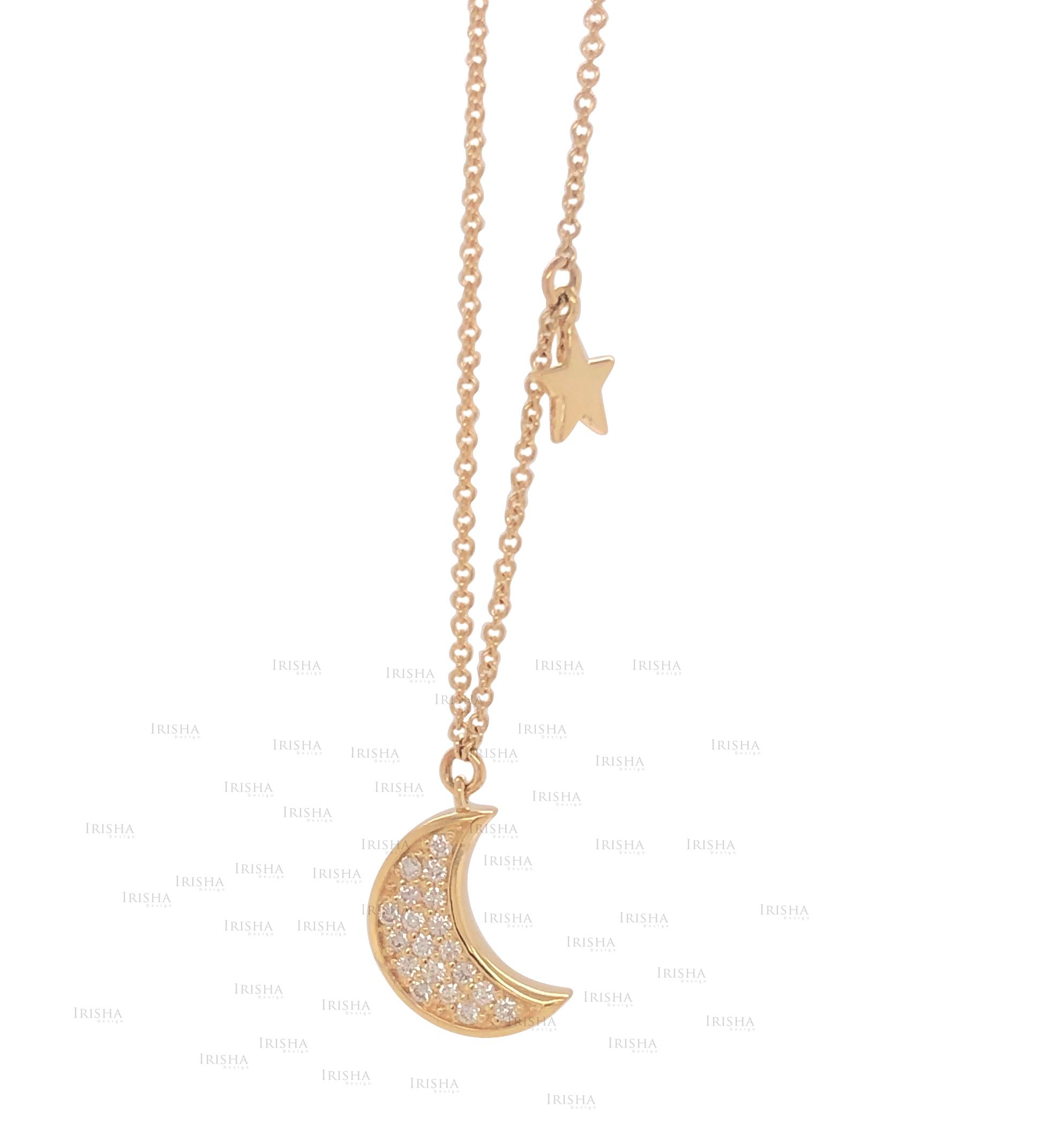 Star Moon Necklace 1/10 Ct. Genuine Diamond 18K Gold Gift