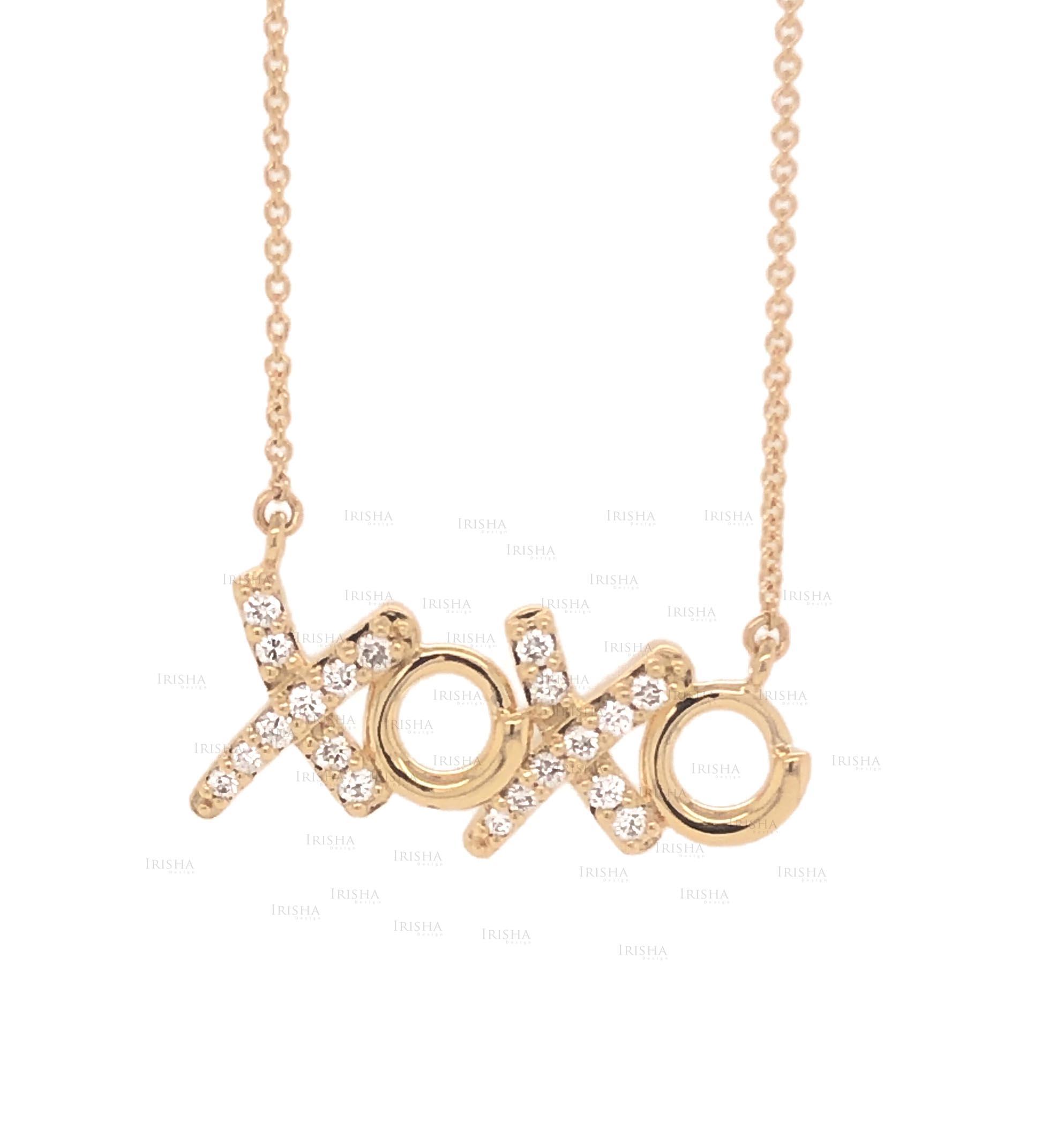 XOXO Pendant Necklace 0.15 Ct. Genuine Diamond 18K Gold Gift