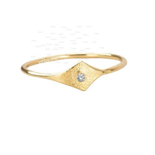 14K Gold 0.01 Ct. Genuine Diamond Evil Eye Design Ring Fine Jewelry Size- 3 to 9