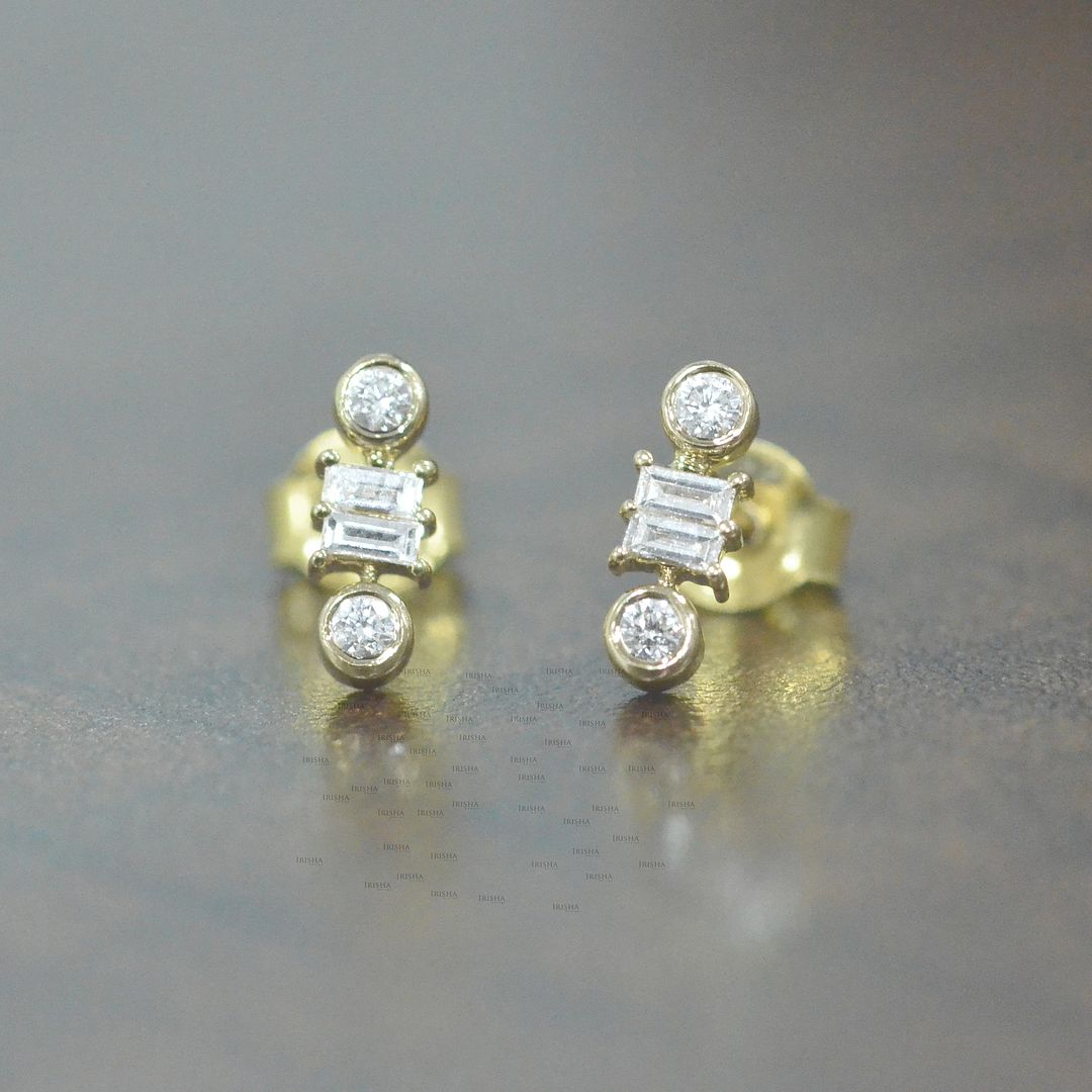 14K Gold 0.20 Ct. Genuine Round And Baguette Diamond Studs Earrings Fine Jewelry