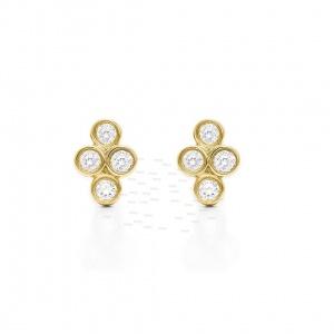 14K Gold 0.24 Ct. Genuine Diamonds Floral Wedding Stud Earrings Fine Jewelry