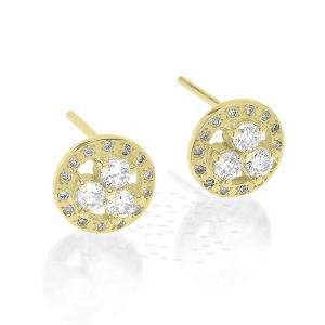 14K Gold 0.50 Ct. Genuine Diamond 10 mm Round Earrings Handmade Fine Jewelry