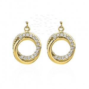 14K Gold 0.14 Ct. Genuine Diamond Love Knot Earrings Mother's Day Gift For MOM