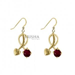 14K Gold 1.30 Ct. Genuine Ruby Gemstone Love Heart Earrings Fine Jewelry