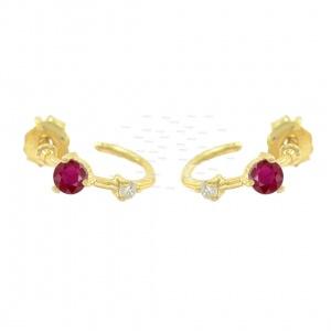 Genuine Diamond And Ruby Gemstone Woman's Hoop 14K Gold Earrings Fine Jewelry