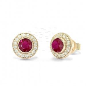 Genuine Diamond And Ruby Gemstone Round 8 mm Stud 14K Gold Earrings
