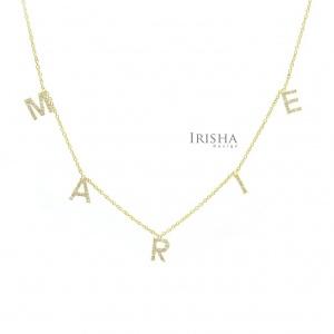 14K Gold 0.50 Ct. Genuine Diamond MARIE Charm Pendant Personalized Necklace