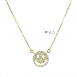 0.28 Ct. Genuine Diamond Smiley Face Pendant 14K Gold Necklace Fine Jewelry