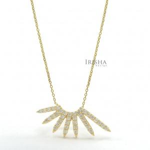 0.25 Ct. Genuine Diamond Sun Rays Pendant 14K Gold  Necklace Fine Jewelry