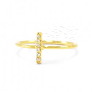 14K Gold 0.04 Ct. Genuine Diamond 8 mm Bar Minimalist Ring Fine Jewelry