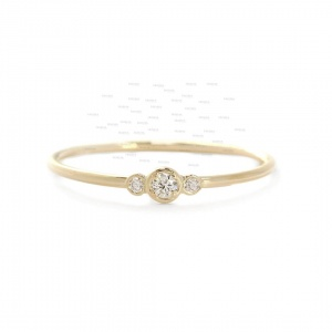 14K Gold 0.17 Ct. Genuine Diamond Delicate Engagement Ring Fine Jewelry