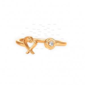 0.03 Ct. Genuine Diamond  Heart Cuff Open 14K Gold Ring Fine Jewelry