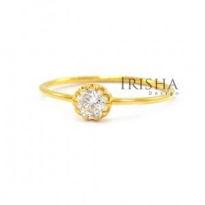 0.15 Ct. Solitaire Genuine Round Diamond Engagement 14K Gold Ring Fine Jewelry