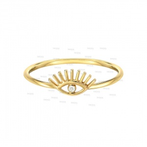0.02 Ct. Genuine Diamond Evil Eye Delicate 14K Gold Ring Christmas Fine Jewelry