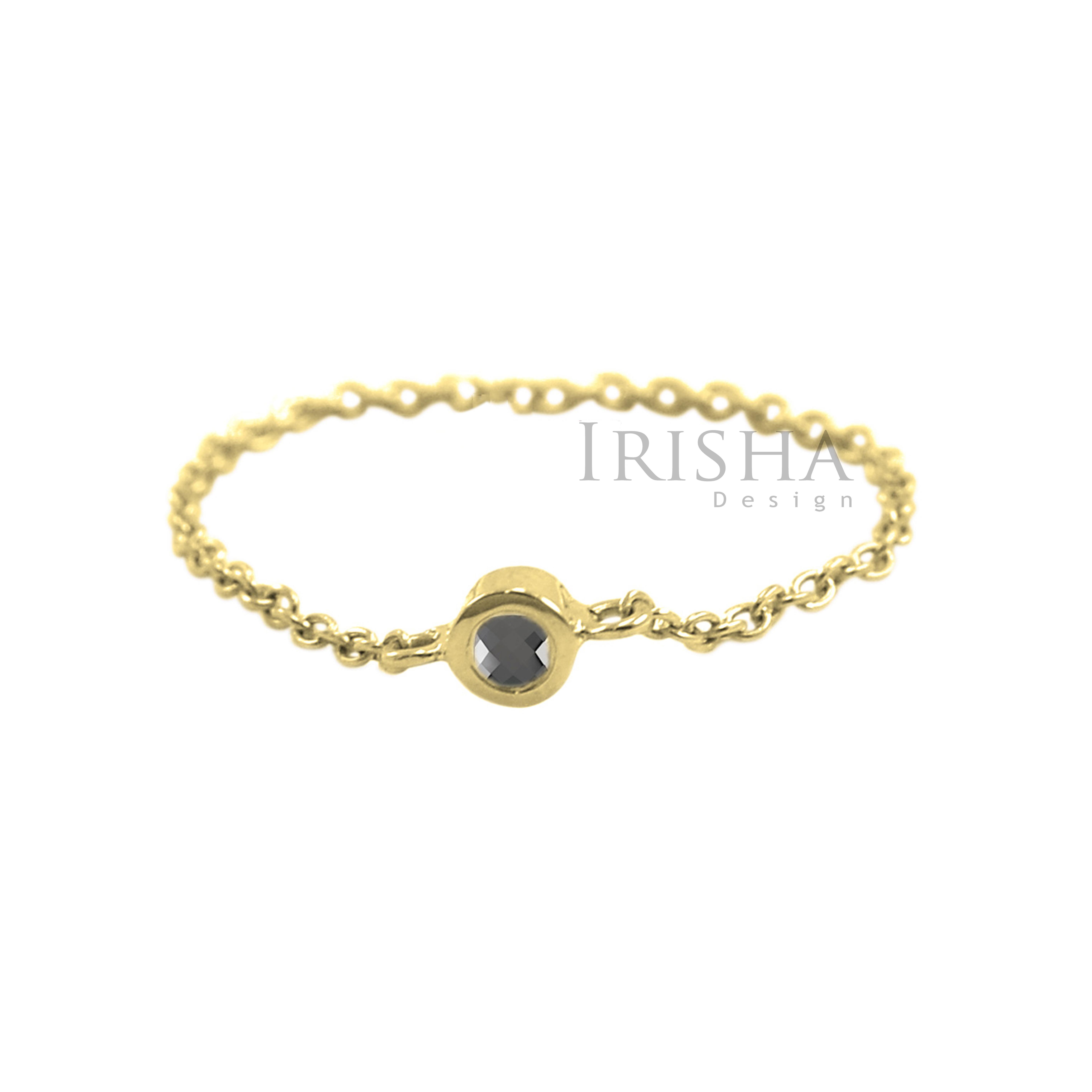14K Yellow Gold 0.03 Ct. Genuine Black Diamond Link Chain Ring Handmade 6.25 US