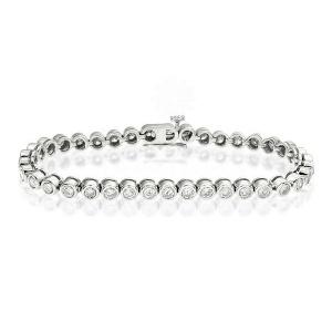 14K Gold 5.00Ct. Genuine VS Clarity Diamond Rubover Style Tennis Bridal Bracelet