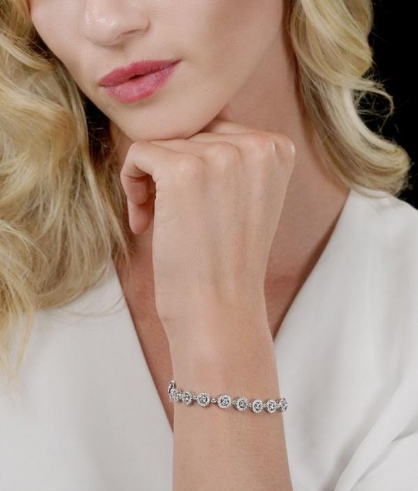 14K Gold 6.00 Ct. Genuine VS Clarity Diamond Halo Bracelet Wedding Jewelry