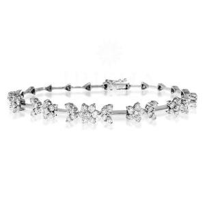 14K Gold 3.00 Ct. Genuine VS Clarity Diamond Flower Bangle Bracelet Fine Jewelry