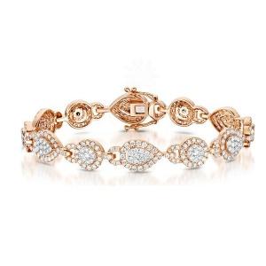 14K Gold 5.00 Ct. Genuine VS Clarity F-G Diamond Halo Bracelet Bridal Jewelry