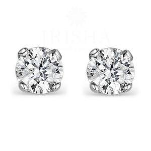 14K Gold 2.00 Ct. Genuine VS Clairty F-G Diamond Wedding Bridal Studs Earrings